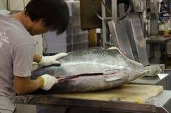 Weißer behandschuhter Fisch-Metzger Stockfotos