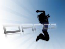 Weißer blauer Hintergrund des Tanzenschattenbildes Stockfoto