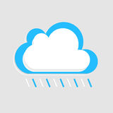 Weißer blauer Vektor der regnerischen Wolke mit Schatten auf dem Licht Stockfotos