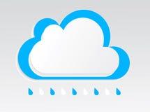 Weißer blauer Vektor der regnerischen Wolke mit Schatten auf dem Licht Stockbild