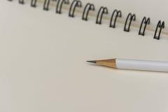 Weißer Bleistift mit leerem Notizbuch Stockfotografie