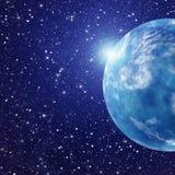 Weißer Blitz des Raumplaneten Kosmoshimmelhintergründe Stockfoto