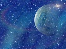 Weißer Blitz des Raumplaneten Kosmoshimmelhintergründe Stockfotos