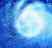 Weißer Blitz im Kosmoshimmelhintergrund Stockbilder