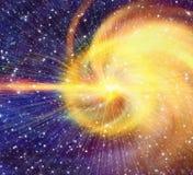 Weißer Blitz im Kosmoshimmelhintergrund Lizenzfreie Stockfotos