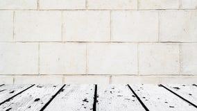 Weißer Bretterboden und altes Wandwandgemälde Lizenzfreie Stockfotos