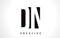 Weißer Buchstabe Logo Design DN D N mit schwarzem Quadrat vektor abbildung