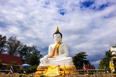 Weißer Buddha an Dokkrai-Tempel Thailand Lizenzfreie Stockbilder