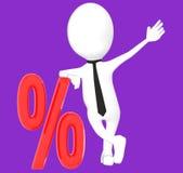 weißer Charakter 3d, der über Prozentsatzzeichen, Rabattverkauf sich lehnt vektor abbildung