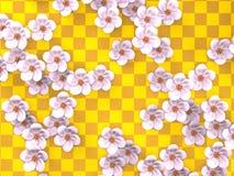 Weißer Cherry Blossoms On Gold Pattern-Hintergrund Lizenzfreie Stockfotos