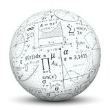 Weißer 3D Bereich - Ball mit Mathe-Symbol-Beschaffenheit lizenzfreie abbildung