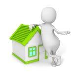 Weißer 3d Grundstücksmakler Person With Little House Lizenzfreie Stockbilder