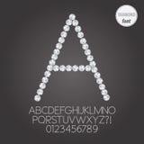 Weißer Diamond Alphabet- und Stellen-Vektor Stockbild