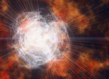 Weißer elektrischer Blitz in den Kosmoshimmelhintergründen Lizenzfreies Stockfoto