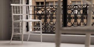 Weißer Entwerferstuhl im Dachboden Stockbild