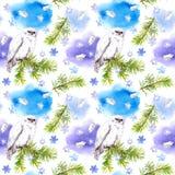 Weißer Eulenvogel und -schnee Wiederholen des Wintermusters, Watercolour Stock Abbildung