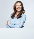 Weißer Fahnengriff der Geschäftsfrau Lizenzfreies Stockfoto