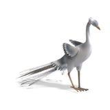 Weißer Fantasievogel mit schönen Federn. 3D lizenzfreie abbildung