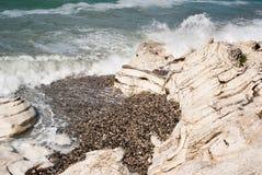 Weißer Felsen auf dem Strand des Schwarzen Meers Lizenzfreie Stockfotos