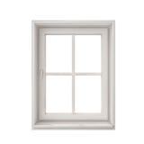 Weißer Fensterrahmen lokalisiert auf weißem Hintergrund Stockfotos