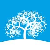 Weißer Fractalbaum auf blauem Hintergrund Stockfotografie