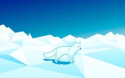 Weißer Fuchs in der niedrigen Polyart auf der Scholle im Nordpol Stockfotografie
