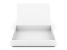 Weißer geöffneter Kasten stockbild