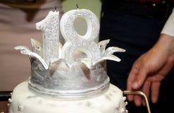 Weißer Geburtstagskuchen Stockfoto
