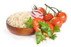 Weißer gedämpfter Reis in hölzernem Lizenzfreies Stockbild