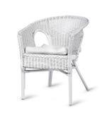 Weißer geflochtener Stuhl lokalisiert Stockbilder