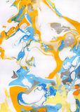 Weißer, gelber, orange, blauer und grauer abstrakter handgemalter Hintergrund stockbilder