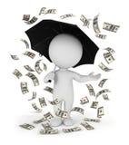 weißer Geldregen der Leute 3d mit einem Regenschirm Lizenzfreies Stockbild