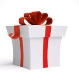 Weißer Geschenk-Kasten mit rotem Satin-Farbband-Bogen Lizenzfreie Stockfotografie