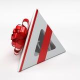 Weißer Geschenkkasten mit rotem Farbband Stockbilder