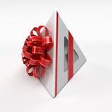Weißer Geschenkkasten mit rotem Farbband Stockbild