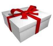 Weißer Geschenkkasten - rotes Farbband Stockbild