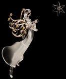 Weißer Glasengel und Stern Stockbild