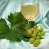 Weißer Glaswein auf blauem backg Stockfoto