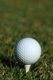 Weißer Golfball auf T-Stück. lizenzfreie stockfotos