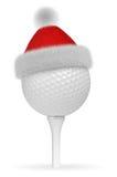 Weißer Golfball auf T-Stück im Santa Claus-Rothut stock abbildung