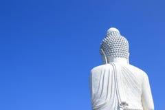 Weißer großer Marmorierungbuddha Stockfotografie