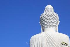 Weißer großer Marmorierungbuddha Stockfotos