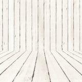 Weißer hölzerner Hintergrund und Boden, hölzerner Raumhintergrund, Interio Stockfoto