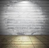 Weißer hölzerner Raum mit Fliesenboden Lizenzfreie Stockfotografie