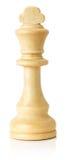 Weißer hölzerner Schachkönig auf dem weißen Hintergrund Stockfoto
