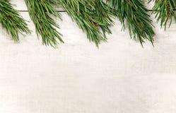 Weißer hölzerner Weihnachtshintergrund verzierte Kiefernniederlassungen Lizenzfreies Stockfoto