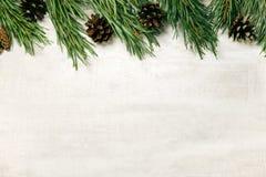 Weißer hölzerner Weihnachtshintergrund verzierte Kiefernniederlassungen Eisenbahn Stockbild