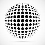 Weißer Halbtonbereich des Vektors 3D Punktierter kugelförmiger Hintergrund zeichen Lizenzfreie Stockfotografie