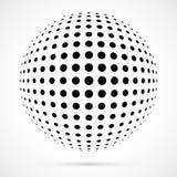 Weißer Halbtonbereich des Vektors 3D Punktierter kugelförmiger Hintergrund zeichen Lizenzfreies Stockbild