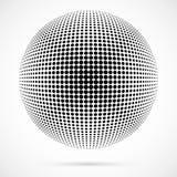 Weißer Halbtonbereich des Vektors 3D Punktierter kugelförmiger Hintergrund zeichen Lizenzfreies Stockfoto